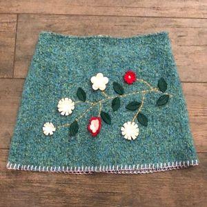 Little Mass Wool Floral Skirt - 4-5T